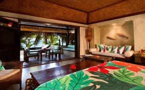 Picture design, style, interior, the hotel, Bungalow, premium, bungalow, beachfront, pacific resort, aitutaki, daytime