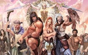Picture weapons, girls, sword, war, art, barbarian, Stjepan Sejic