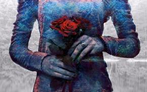 Picture bouquet, painting, Double exposure
