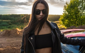 Picture car, lexus, girl, summer, sony, night, model, moscow, low, Alena, smotra, drive2, a99