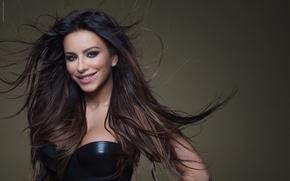 Picture girl, smile, background, hair, dark, makeup, brunette, neckline, singer, celebrity, Ani Lorak, long, Carolina