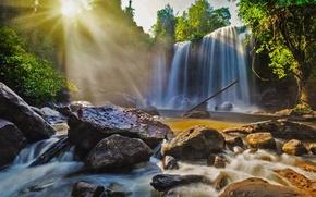 Picture rays, light, stones, waterfall, Cambodia, Phnom Kulen National Park