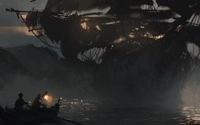 Picture sea, boat, ship, art, ghost ship