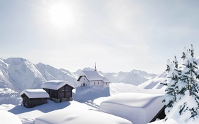 Picture snow, mountains, Alps, the village