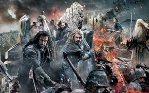 Picture Sky, Fire, Men, Wallpaper, Baggins, Army, Gandalf, Ian McKellen, Martin Freeman, Richard Armitage, Weapons, Cloud, ...