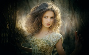 Picture look, nature, pose, hair, Girl, figure, dress, brunette, girl, beautiful, green eyes, long hair, dress, …