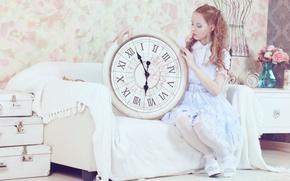 Picture sofa, watch, Girl, dress, girl, art, costume