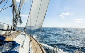 Wallpaper yacht, tourism, ship, squirt, sea, wave, track, summer, horizon, sky, space, stay, yacht, speed, marine, ...