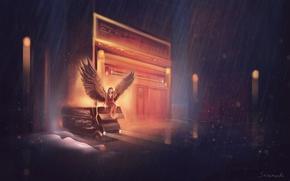 Picture machine, girl, rain, wings, angel, art