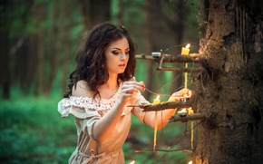 Wallpaper fire, dress, bokeh, mood, girl, in the woods, makeup, brunette, tree, hairstyle, one, candles