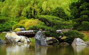 Picture water, Park, the bridge