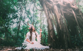 Picture forest, girl, tree, dress, horns, Asian