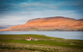 Picture clouds, mountains, house, Bay, Iceland