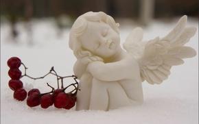 Picture snow, berries, sleep, angel, Moscow, Lefortovo Park