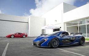 Wallpaper McLaren, Red, Blue, Supercars, Ferrari F40, Supercars