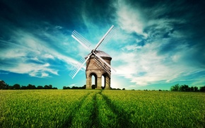 Wallpaper clouds, green, field, Mill