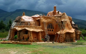 Picture mountains, design, house, glade, construction, Bogota, Colombia