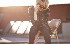 Picture girl, woman, model, chair, tattoo, blonde, tattoos, female, Alysha Nett, sunglasses, roof, sun glasses, flannel
