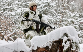 Picture winter, forest, girl, snow, camouflage, Machine, AK-74, AK-74m