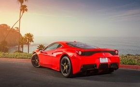 Picture asphalt, red, shadow, red, ferrari, Ferrari, back, 458 speciale