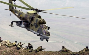 Wallpaper landing, landing, Mi-24, mountains