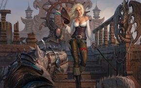 Picture look, girl, weapons, ship, hat, being, art, blonde, beast, pirates