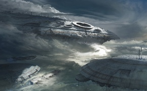 Picture clouds, fiction, ships, art, giant