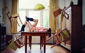 Wallpaper girl, room, chairs, the situation