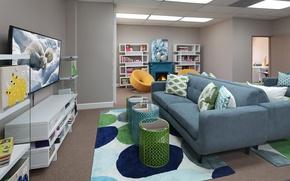 Wallpaper design, sofa, interior, pillow, living room, plasma