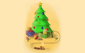 Picture cat, new year, gifts, tree
