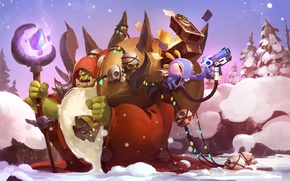 Picture holiday, new year, Christmas, Warcraft, Happy New Year, Orc, art, world of warcraft, warlock, hearthstone, …