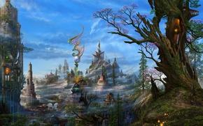Wallpaper clouds, trees, the city, fantasy, art, haze, ucchiey, if kazama uchio