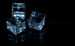 Wallpaper transparency, light, reflection, background, ice, Cubes, three, sparkles., on black