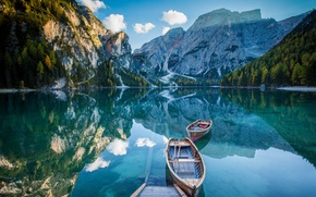 Picture mountains, lake, reflection, boats, mirror, deck