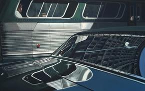 Wallpaper America, bus, the hood, street, the city, road, passenger, window, reflection, realism, richard estes, retro