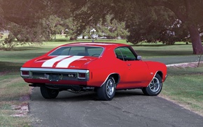 Picture road, trees, red, coupe, Chevrolet, Chevrolet, rear view, Coupe, 1970, 454, Chevelle, Muscle car, Hardtop, …