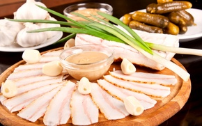 Picture photo, food, bow, cucumbers, garlic, fat, meat products