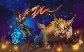 Wallpaper animal, predator, magic, MAG, girl, night, spear, forest, cat