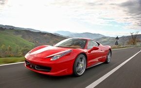 Picture road, machine, auto, Ferrari, beautiful, red, 458