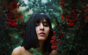 Picture girl, berries, bokeh, Ronny Garcia, Fruit of sin