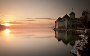 Picture water, the sun, lake, reflection, castle