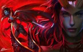 Wallpaper girl, face, the demon, art, horns, art, dota2, Akasha, moba, queen of pain