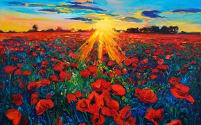 Picture the sky, the sun, landscape, flowers, nature, painting