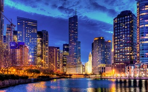 Picture skyscrapers, reflection, Trump Tower, Streeterville, the city, lights, the evening, tower, building, river, Streeterville, Chicago, ...