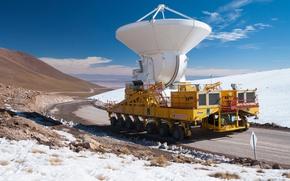 Picture mountains, desert, height, North, the, Chile, installation, plateau, power, radio telescope, sea, tractor, Atacama, Chajnantor, ...