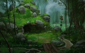 Picture forest, mood, tale, art