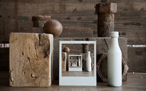 Picture photo, bottle, ball, timber