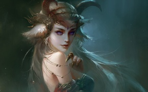 Picture girl, fantasy, horns, art, purple eyes, painting, blonde, artwork, Demon