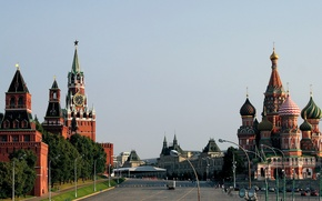 Picture area, Moscow, The Kremlin, St. Basil's Cathedral, Russia, Red square, Spasskaya tower, Russia, Moscow, Vasilevsky ...