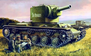 Picture war, art, painting, tank, ww2, KV-2